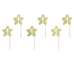 """Декоративные шпажки для 1-го дня рождения """"Золотые звездочки"""" (6 шт)"""
