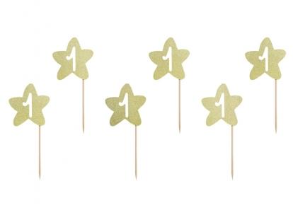 """Dekoratīvi irbulīšī 1-mai dzimšanas diena """"Zelta zvaigznītes"""" (6 gab)"""