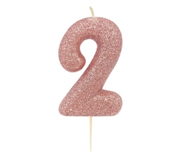 """Свечка """"2"""", розовое золото"""