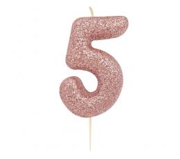 """Svecīte """"5"""", rozā zelta"""