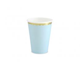 Glāzītes, gaiši zilas ar zelta maliņu (6 gab/ 220 ml)
