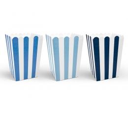 Коробочки для закуски, синие в полоске (6 шт)