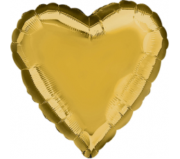 Folija balons, sirds-zelta (43 cm)