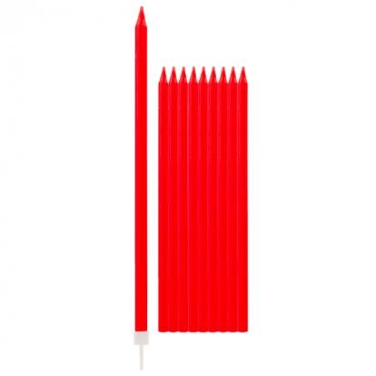 Svecītes, sarkanas- garas (10 gab/15 cm)