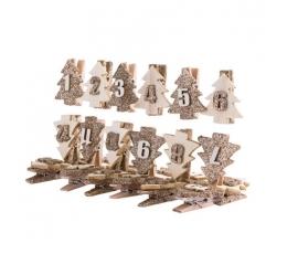 """Adventes kalendāra knaģīši """"Zelta Ziemassvētku eglītes"""" (3,5 cm)"""