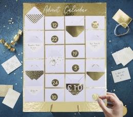 Adventes kalendārs, zelta ar aploksnēm  1