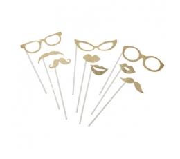 """Aksesuāri fotosesijai """"Brilles-lūpas"""", zelta (9 gab)"""