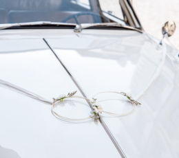 Automašīnas dekorāciju komplekts ar riņķiem, balts 1