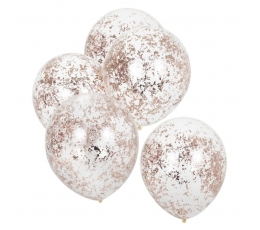 Baloni, caurspīdīgi ar rozā zelta, smalkiem konfettī  (5gab / 30 cm)