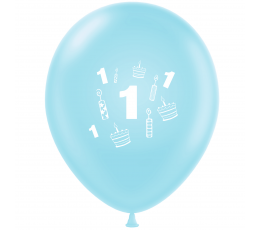 """Balons """"Pirmā dzimšanas diena"""", gaiši zils (30 cm)"""