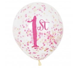 """Baloni """" 1-ā dzimšanas diena"""", rozā ar konfetī (6 gab/ 30 cm)"""
