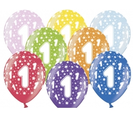 "Baloni ""1"", krāsaini, perlamutra (6 gab. / 30 cm)"