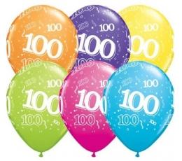 "Baloni ""100"", krāsaini (6 gab. / 28 cm)"