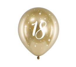 "Baloni ""18"", metalizēts - zelta (6 gab. / 30 cm)"