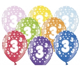 "Baloni ""3"", krāsaini (6 gab. / 30 cm)"