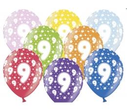 "Baloni ""9"", krāsaini (6 gab./30 cm)"