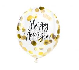"Baloni ar zelta konfeti ""Laimīgu Jauno gadu"" (3 gab. / 30 cm)"