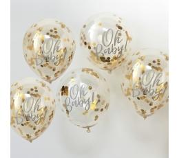 """Baloni ar zelta konfettī """"Oh Baby"""" (5 gab/ 30 cm)"""