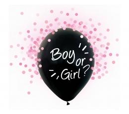 """Baloni """"Boy or Girl?"""", ar rozā konfetti (4 gab./30 cm)"""