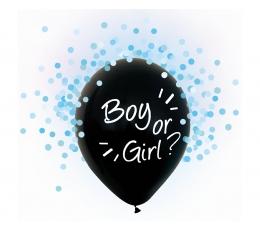 """Baloni """"Boy or Girl?"""", ar ziliem konfetti (4 gab./30 cm)"""