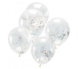 Baloni, caurspīdīgi ar hologrāfiskajiem konfeti (5 gab.)