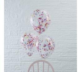 Baloni, caurspīdīgi ar krāsainiem konfettī (5 gab/30 cm)