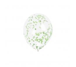 Baloni, caurspīdīgi ar salātkrāsas konfettī (6 gab)