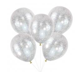 Baloni, caurspīdīgi ar sudraba diedziņiem (5 gab.)