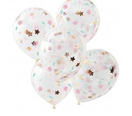 Baloni caurspīdīgi ar ziedu konfettī (5 gab/30 cm)
