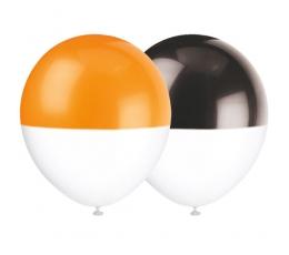 Baloni, divkrāsaini melni-oranži (6 gab/ 30 cm)
