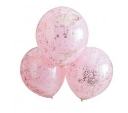 Baloni - dubultie, rozā ar rozā - zelta konfeti (3 gab.)