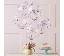 "Baloni ""Happy Birthday"", caurspīdīgi ar ziedu konfettī (5 gab/30 cm)"