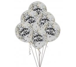"Baloni ""Happy New Year"" ar konfettī (6 gab.)"