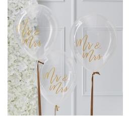 "Baloni ""Mr&Mrs"", caurspīdīgi ar zelta uzrakstu (5 gab /30 cm)"