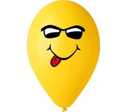 """Baloni """"Smaidiņš ar brillēm"""", dzelteni (50 gab. / 28cm)"""