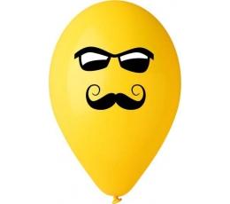 """Baloni """"Smaidiņš ar ūsām un brillēm"""" (50 gab./28 cm)"""