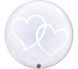 """Caurspīdīgs (bubble) balons """"Baltās sirdis"""" (24 x 56 cm)"""