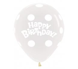 """Balons, caurspīdīgs ar baltiem punktiņiem """"Happy birthday"""" (45 cm)"""