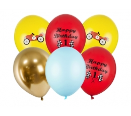 """Balonu komplekts 1. dzimšanas dienai """"Cars"""" (6 gab. / 30 cm)"""