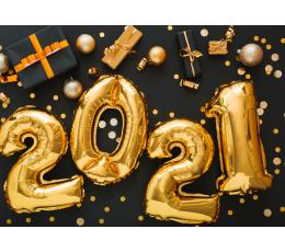 "Balonu komplekts ""2021"", zelta ( 4 gab ./35 cm)"