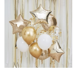 "Balonu vītne - arka ""Izveido pats"", balta-zelta (12 gab.)"