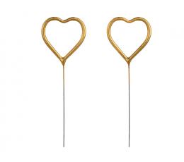 """Brīnumsvecīte """"Sirsniņa"""", zelta (2 gab./16,5 cm)"""