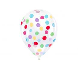 Caurspīdīgi baloni ar krāsainiem konfettī (6 gab./ 30 cm)