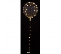 Caurspīdīgs balons ar baltām LED lampiņām