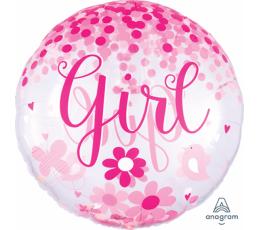 """Caurspīdīgs balons ar konfeti """"Girl"""" (71 cm)"""