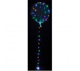 Caurspīdīgs balons ar krāsainām LED lampiņām