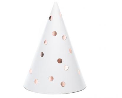 Cepurītes, baltas, rozā - zelta punktiem (6 gab.)
