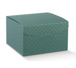 Dāvanu kaste, zaļa rakstaina (22X22X23 cm)