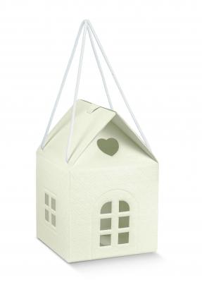"""Dāvanu kastīte ar lodziņiem """"Namiņš"""", krēmkrāsas (10X10X9 cm)"""