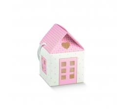 """Dāvanu kastīte ar lodziņiem """"Namiņš"""", rozā (10X10X9 cm)"""